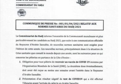Communiqué de Presse Relatif aux normes sanitaire du Hadj 2021